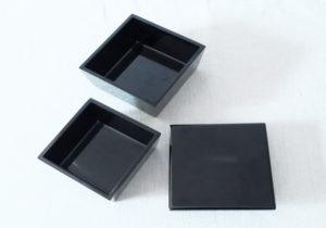 漆器 黒塗 台形ミニ二段入子重